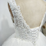 Lovely Scoop Neck Puffy Short Wedding Dress with Lace Beading Summer Bridal Gown