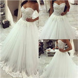 Romantic Lace Ball Gown Sweetheart Bridal Dresses Corset Custom Made Wedding Gown