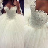 Glamorous Princess Corset Bridal Gown Custom Made  Pearl Wedding Dress Ball Gown Lace Bridal Gowns