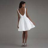 Boat Neck Short Summer Beach Wedding Dress A Line Satin White Bridal Gown WD0524
