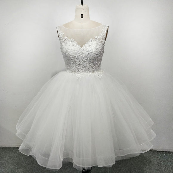Lovely Scoop Neck Poofy Short Wedding Dress with Lace Beading Summer Bridal Gown