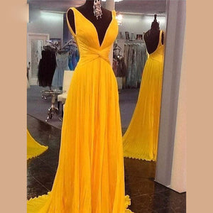 Siaoryne LP0826 Yellow Long Chiffon Sexy V Neck Elegant Prom dress Formal evening Gowns Special Occasion dress Custom Made