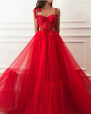 Fancy Women Formal Gowns Long Red Dot Tulle Prom Dresses with Straps Vestidos 2020