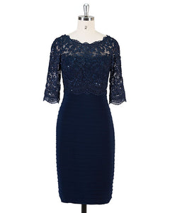 Custom Made Navy Knee Length Short Mother of the Bride Dress Lace Women Evening Gown SP574