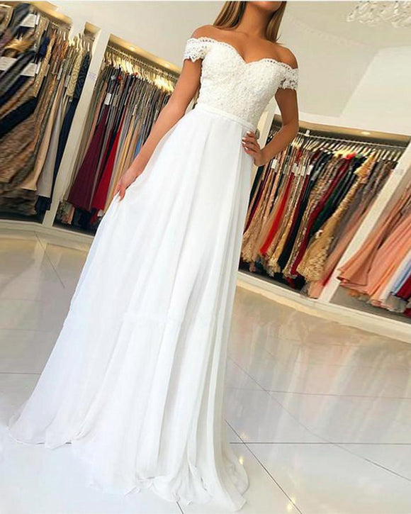 Women Cheap Price Wedding Gown Off the Shoulder Lace Beach Lace Chiffon Ivory Bridal Dress WD0926