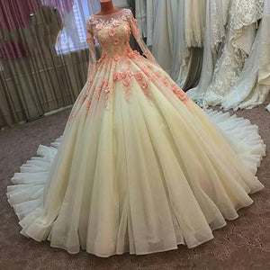 Fashionable Long Sleeves Lace Ball Gown Wedding Dress Princess Prom Gown 2018 robe de soiree