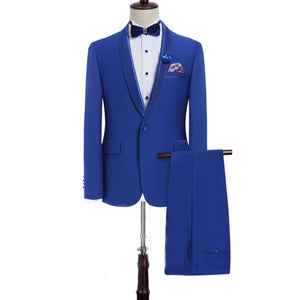LP5511 Blue Groomsmen Notch Lapel Groom Tuxedos Green One Buttons Men Suits Wedding Best Man Suit (Jacket+Pants)