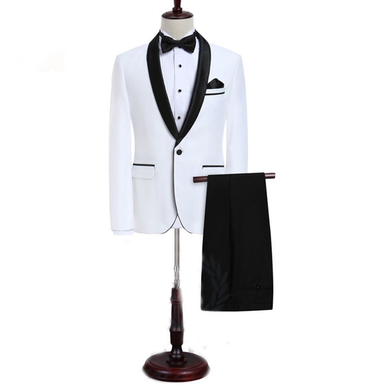 Lp5506 Men Suit White Tuxedo With Black Lapel Wedding Suit For Men Slim Fit Groom Party Jacket Pant