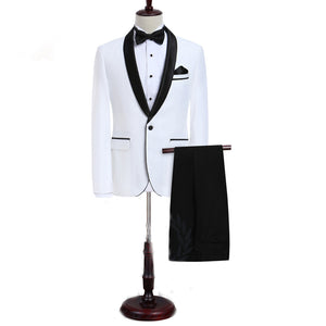 LP5506 Men Suit White Tuxedo With Black Lapel Wedding Suit For Men Slim Fit Groom Party (Jacket+Pant)