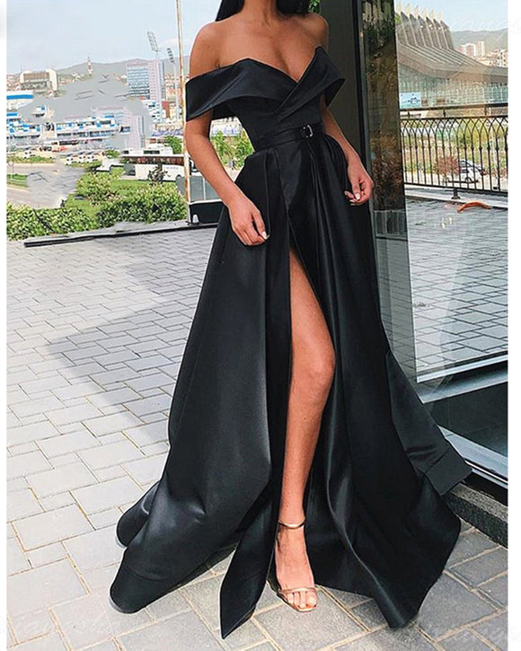 New High Slit Long Prom Party  Dress off Shoulder Gowns PL0227