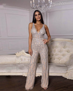Siaoryne Luxury V Neck Nude Beading Jumpsuit Evening Formal Gowns Dress Long Sleeveless
