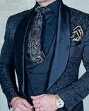 Royal Blue Shawl Lapel Pattern Wedding Suits Groomsmen Tuxedo SP451(jacket+vest+pants)