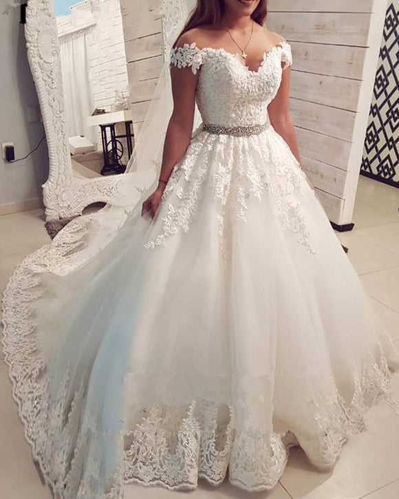 Vintage Lace Wedding Dress 2020 Ball Gown Sweetheart Off The Shoulder Vestido De Noiva