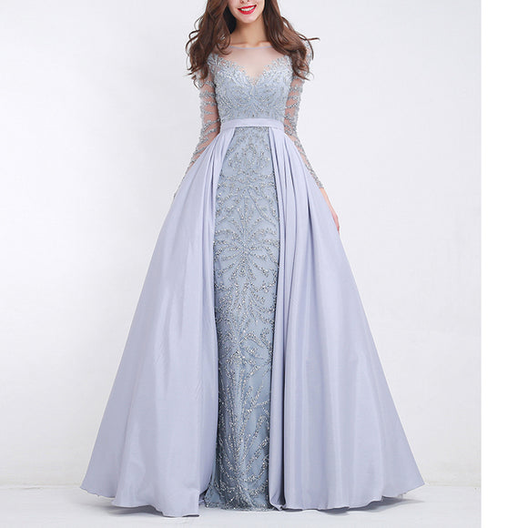 LP745 Luxury Attachable Train Sexy Heavy Beading Prom Dresses with Sleeves Formal Gown Pageant Dresses