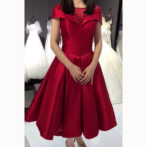 Lovely Burgundy High Low Prom Dress with Short Sleeve Girls Homecoming Gown  vestido de formatura curto
