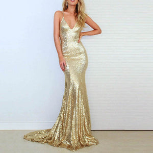 Champagne/Gold Sequin Evening Dress Mermaid Long Women Sexy Party Formal Prom Gown LP803