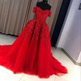 LP5536 Red Prom Dresses Long lace Appliqued off the Shoulder Evening Formal Gowns Court  Train