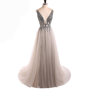 Classy Sexy Grey Dress Deep V Neck Crystal Long Evening Gown 2020 LP0514