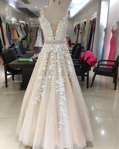 Ivory/Champagne Lace A Line Prom Dresses Long Girls Graduation Gown PL5544