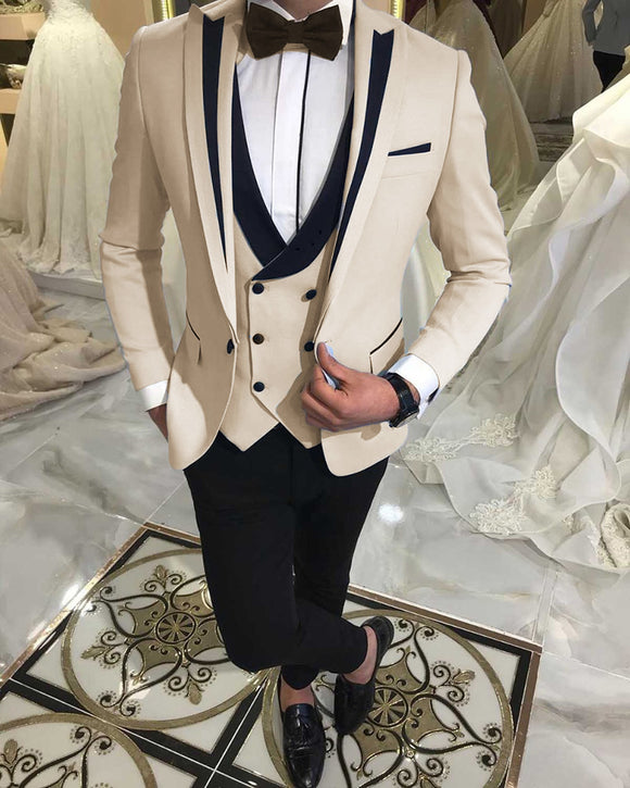 Peak Lapel Slim Fit Mens Formal Prom Outfit  Beige Groom Wedding Tuxedos 3 Pieces Suits
