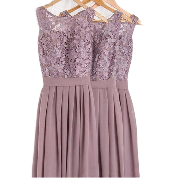 LP3654 Elegant Scoop Neck Lace Chiffon French Lilac Bridesmaid Dresses Women Wedding party Dresses Long