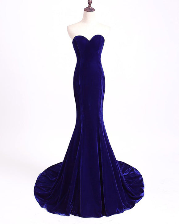 Royal Blue Long Velvet Evening Dress for Military Ball Mermaid formal Prom Wear LP360