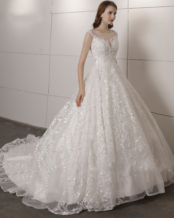 Princess Scoop Neck Ivory Lace Women Wedding Dresses 2020 for Bride Ball Gown WD1131