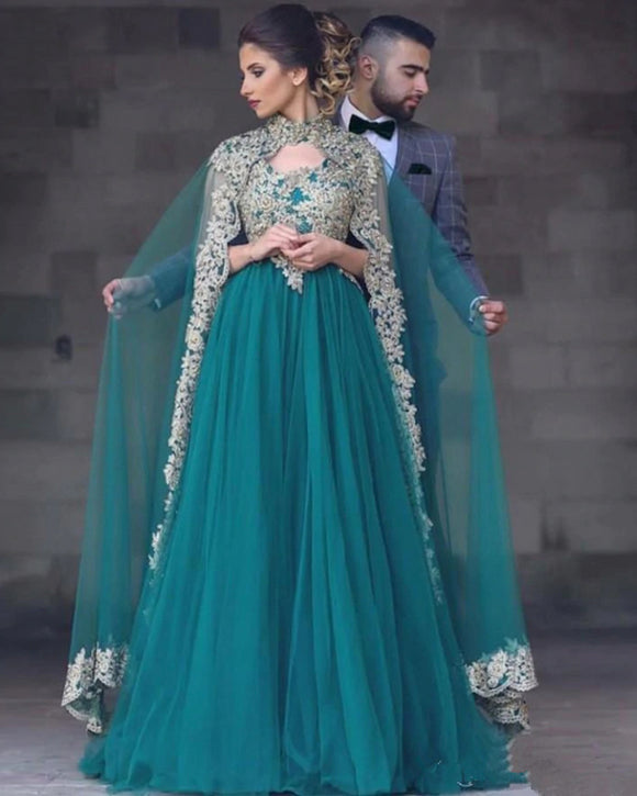 Green Tulle Moroccan Kaftan Evening Dresses with Cape Dubai Arabic Muslim Special Occasion Formal Prom Gown PL0715