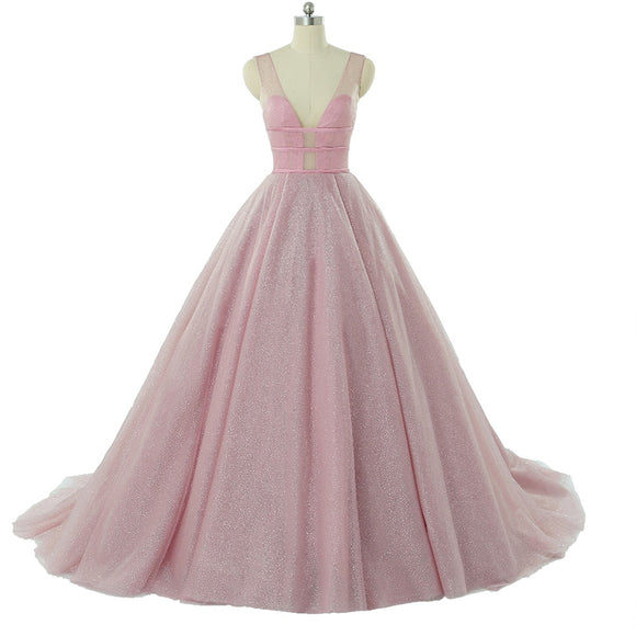 Pink Amazing Glitter Ball Gown Prom Gown,Evening Formal Dresses women Outfits Fashion 2018