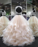 Crop Top Two Pieces Ball Gown Quinceanera  Sweet 16 Prom Dress for Girls Graduation PL0921
