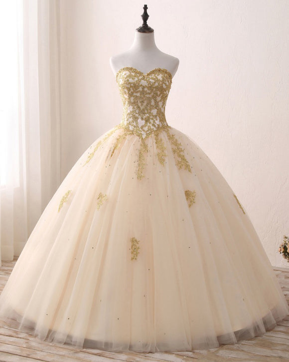 Princess Sweetheart Champagne Ball Gown Sweet 16 Dress Quinceanera Prom Gown with Gold Lace LP1224