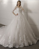 Long Sleeves Ball Gown Princess  Wedding Bridal Dresses with Lace 2019 PL652