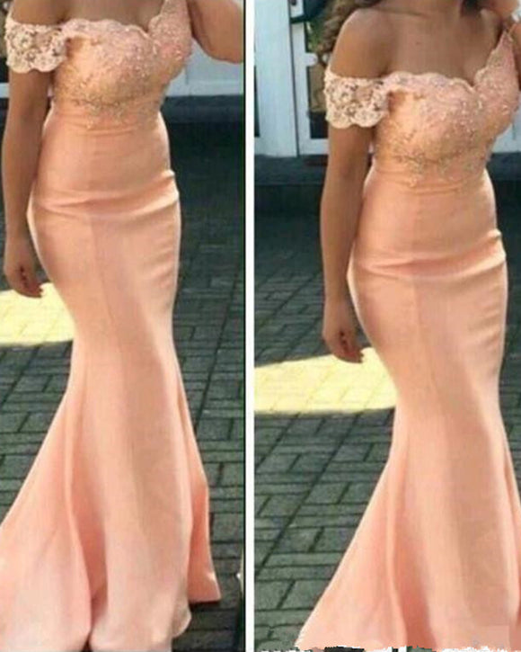 Bridesmaid Dresses For Weddings Peach Off Shoulder Cap Sleeves Lace Appliques Mermaid Floor Length Plus Size Formal Maid of Honor Gowns PL09261