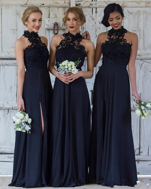 Navy Blue /Burgundy halter lace Long Chiffon Bridesmaid Dress Women Wedding Party Gown PL0908