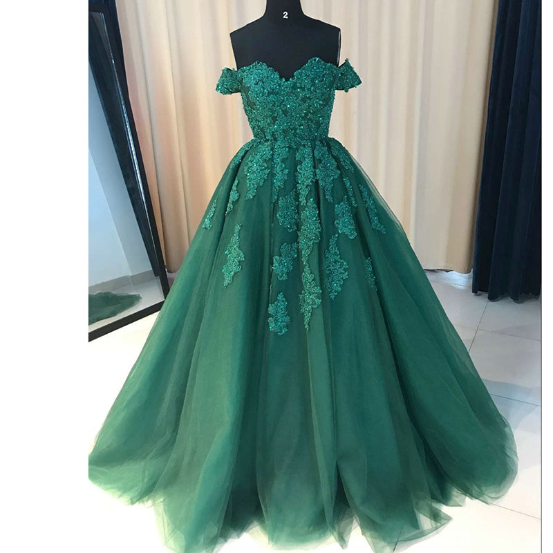 3d3acba87a2c ... Off the Shoulder Lace tulle Ball Gown Red Prom Dresses formal Gowns ...