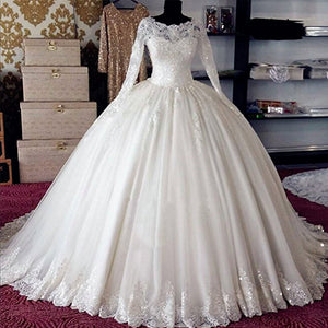3b2dc2ffdda7a Vintage Long Sleeves Lace Ball Gown Vestido De Novia Bridal Gown Wedding  Dresses 2018