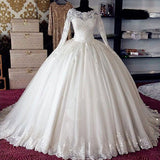 Vintage Long Sleeves Lace Ball Gown Vestido De Novia Bridal Gown Wedding Dresses 2018