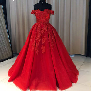 Off the Shoulder Lace tulle Ball Gown Red Prom Dresses formal Gowns