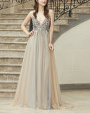 Sparkle Beading Sequins Sexy V Neck Prom Dresses Formal Evening Gown PL2145