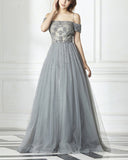 Off the Shoulder Gray Beading Prom Dress Long Graduation  Gown PL2014