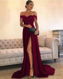 Dark Red Slit Long Prom Dresses with Off the Shoulder Evening Party Gown