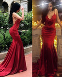 Red Lace Appliqued Mermaid Party Prom Dresses with Spaghetti Straps Long PL2102