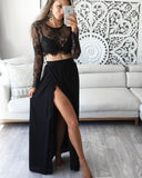 Black/White Two Pieces Long Sleeves Lace Prom Party Dresses with Slit PL2214