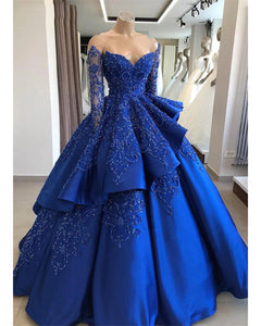Stylish Long Sleeves Lace Beaded Ball Gown Women Formal Dress,Wedding Dress With Sleeves LP1225