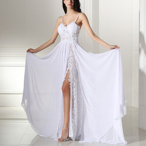 Gorgeous Spaghetti Straps Lace Chiffon Slit Beach Wedding Dress Summer Bridal Gown 2020