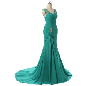 Classy Green Mermaid Beaded Long Women Evening Dress Custom Made Mother of The Bride Dresses