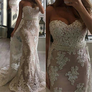 Pink/Ivory Lace Sweetheart Mermaid   Prom Long Dresses 2019 PL8854