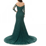 LP5513 Dark Green  Long Sleeves Vintage Evening Dress Lace Fitted Formal Gown 2018 Prom
