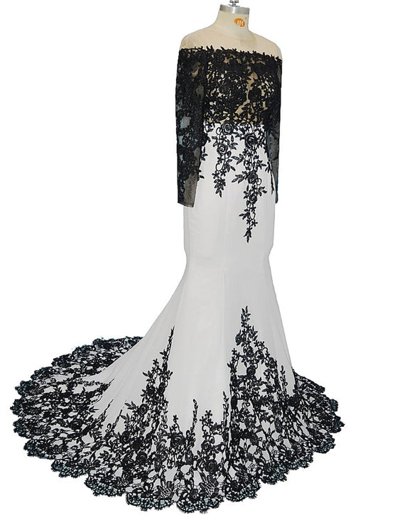 White and Black Evening Dress Long mermaid Formal Party Gown LP047
