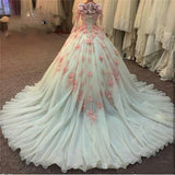 Fashionable Long Sleeves Lace Ball Gown Wedding Dress Princess Prom Gown 2020 robe de soiree